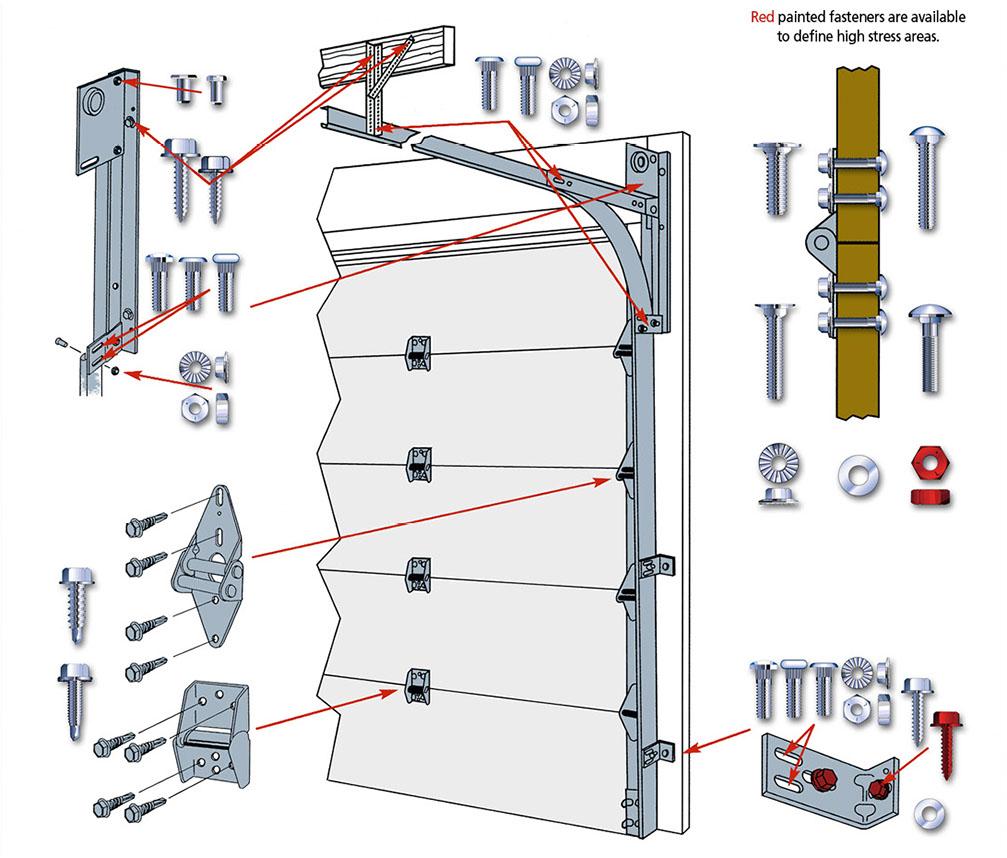 Image Of Overhead Garage Door Component Diagram